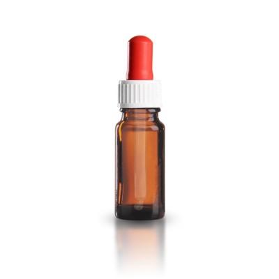 Braune 10ml Pipettenflasche mit weiß/roter Glaspipette ST