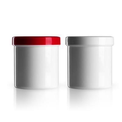 Salbenkruke mit rotem/weißem Deckel 200g