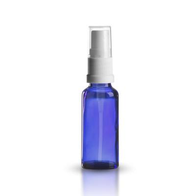 Blaue 30ml Glasflasche mit weißem Pumpzerstäuber
