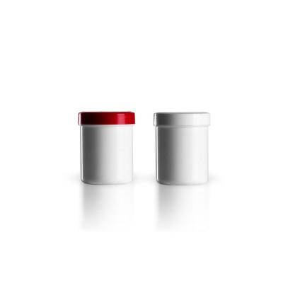Salbenkruke mit rotem/weißem Deckel 30g
