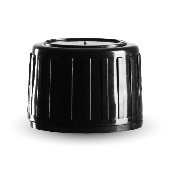 Schraubverschluss schwarz mit Spritzeinsatz DIN28