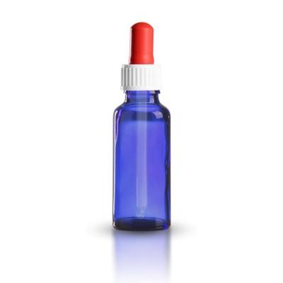 Blauglas Pipettenflasche 30ml mit weiß-roter standard Pipette