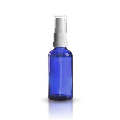 Blaue 50ml Glasflasche mit weißem Pumpzerstäuber