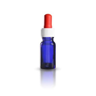 Blauglas Pipettenflasche 10ml mit weiß-roter standard Pipette