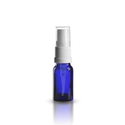 Blaue 10ml Glasflasche mit weißem Pumpzerstäuber