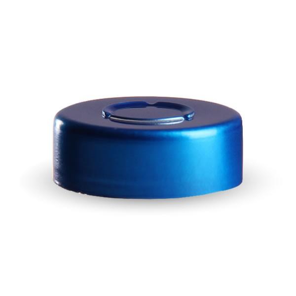 Bördelkappe blau 20.25x7.4mm mit Mittelabriss
