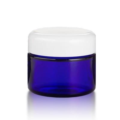 Blauglas Tiegel 50 ml - weiß