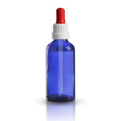 Blauglas Pipettenflasche 50ml mit weiß-roter Pipette