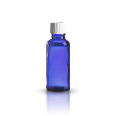 30ml Tropfflasche blau + Schraubverschluss weiß ST
