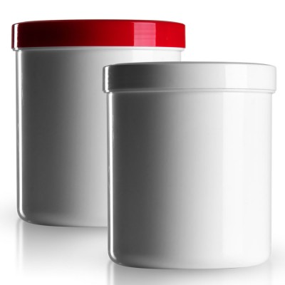 Salbenkruke mit rotem/weißem Deckel 800g