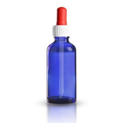 Blauglas Pipettenflasche 50ml mit weiß-roter standard Pipette